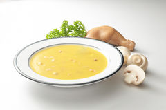 Mushroom Chicken Soup. A plate of mushroom chicken soup Royalty Free Stock Images
