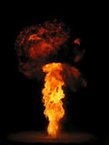 Mushroom cloud. Wax bomb explosion against a black background Royalty Free Stock Photography