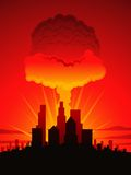 Mushroom cloud and city Royalty Free Stock Photography