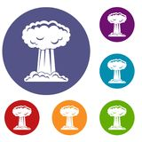Mushroom cloud icons set. In flat circle red, blue and green color for web Royalty Free Stock Photo