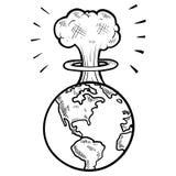 Mushroom cloud sketch Stock Images