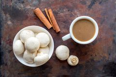 Mushroom Coffee Superfood Trend. Cup of coffee and white bowl wi royalty free stock photo