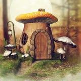 Mushroom cottage and a lantern. Fantasy mushroom cottage and a lantern in an autumnal forest with fern and grass vector illustration