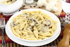 Mushroom cream and pasta Royalty Free Stock Photo