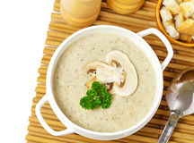 Mushroom cream soup. On a table, food Royalty Free Stock Photos