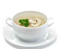 Mushroom cream soup. On white Royalty Free Stock Photo
