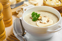 Mushroom cream soup. On a table, food Royalty Free Stock Image