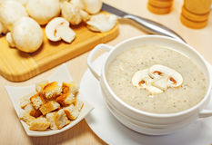 Mushroom cream soup. On a table, food Royalty Free Stock Photography