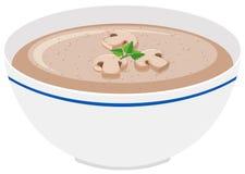 Mushroom cream soup in bowl. Illustration Stock Image