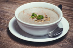 Mushroom cream soup in bowl Royalty Free Stock Photos