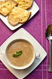 Mushroom cream soup in bowl Stock Images