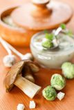 Mushroom cream soup with brussels sprouts Royalty Free Stock Photos