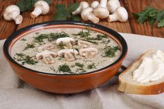 Mushroom cream soup with champignons and milk cream with herbs Royalty Free Stock Photos