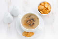Mushroom cream soup with croutons on white table, horizontal Stock Image