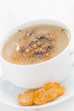 Mushroom cream soup with croutons on white wooden table, closeup Royalty Free Stock Photography