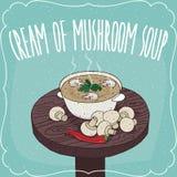 Mushroom cream soup and fresh champignon Royalty Free Stock Photos