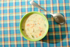 Mushroom cream soup in green bowl, top view Royalty Free Stock Image