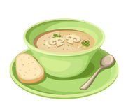 Mushroom cream soup in a green plate. Vector illustration. Stock Photo