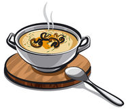 Mushroom cream soup. Illustration of mushroom cream soup in bowl Stock Photos
