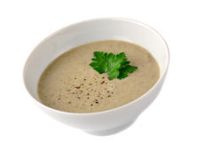 Mushroom cream soup, isolated Royalty Free Stock Photos