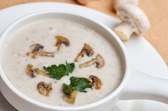 Mushroom cream soup isolated on white. Top view Royalty Free Stock Photography
