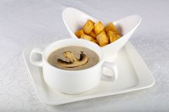 Mushroom cream soup. With bread Stock Images