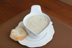 Mushroom cream soup setting on wood table Stock Images