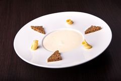 Mushroom cream soup, top view Stock Images