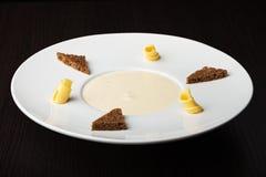 Mushroom cream soup, top view Stock Photo