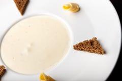 Mushroom cream soup, top view Stock Image
