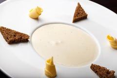 Mushroom cream soup, top view Royalty Free Stock Image