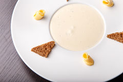 Mushroom cream soup, top view Royalty Free Stock Photography