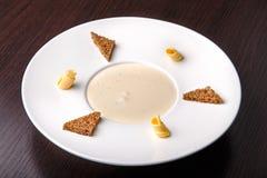 Mushroom cream soup, top view Royalty Free Stock Photos
