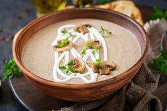 Mushroom cream soup. Vegan food. Dietary menu. Black background stock photography