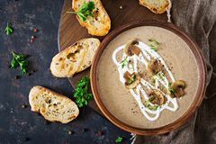 Mushroom cream soup. Vegan food. Dietary menu. Top view. Flat lat Royalty Free Stock Photo