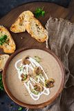 Mushroom cream soup. Vegan food. Dietary menu. Top view. Flat lat Royalty Free Stock Photography