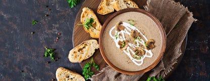 Mushroom cream soup. Vegan food. Dietary menu. Top view. Flat la. T Stock Photos