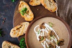 Mushroom cream soup. Vegan food. Dietary menu. Top view. Flat lat Royalty Free Stock Images