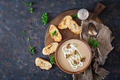 Mushroom cream soup. Vegan food. Dietary menu. Top view. Flat lat Stock Photos