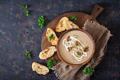 Mushroom cream soup. Vegan food. Dietary menu. Top view. Flat lat Royalty Free Stock Photos