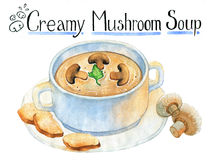 Mushroom cream soup  on white Stock Images