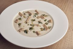 Mushroom cream soup in white plate with crackers royalty free stock image