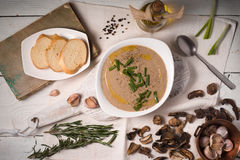 Mushroom cream soup on the  white wooden background top view Royalty Free Stock Image