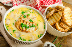 Mushroom creame soup with herbs and toasts Royalty Free Stock Photo
