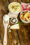 Mushroom creame soup with herbs and toasts Stock Photos