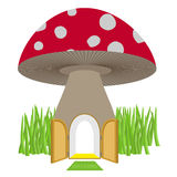 Mushroom with door open. Amanita House for a dwarf, Hobbit. Vect Stock Photography