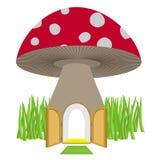 Mushroom with door open. Amanita House for a dwarf, Hobbit. Vect Stock Photography