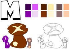 Mushroom drawing template for children Royalty Free Stock Image