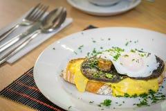 Mushroom Egg Benedict sandwich Stock Image