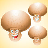 Mushroom face expression cartoon character set Royalty Free Stock Images